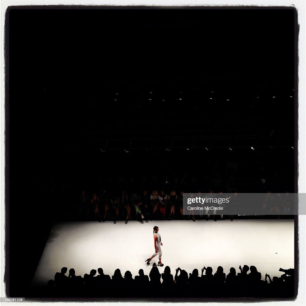 A model showcases designs by Elissa McGowan on the runway at the Innovators show during Mercedes-Benz Fashion Week Australia Spring/Summer 2013/14 at Carriageworks on April 11, 2013 in Sydney, Australia.