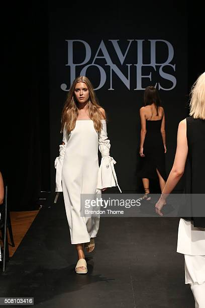 A model showcases designs by Ellery during rehearsal ahead of the David Jones Autumn/Winter 2016 Fashion Launch at David Jones Elizabeth Street Store...