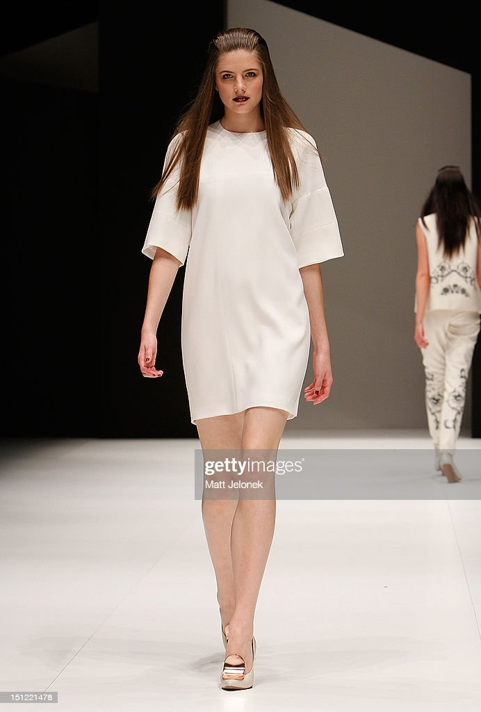 A model showcases designs by ELLERY on the catwalk on day 2 of Melbourne Spring Fashion Week 2012 at Melbourne Town Hall on September 4, 2012 in Melbourne, Australia.