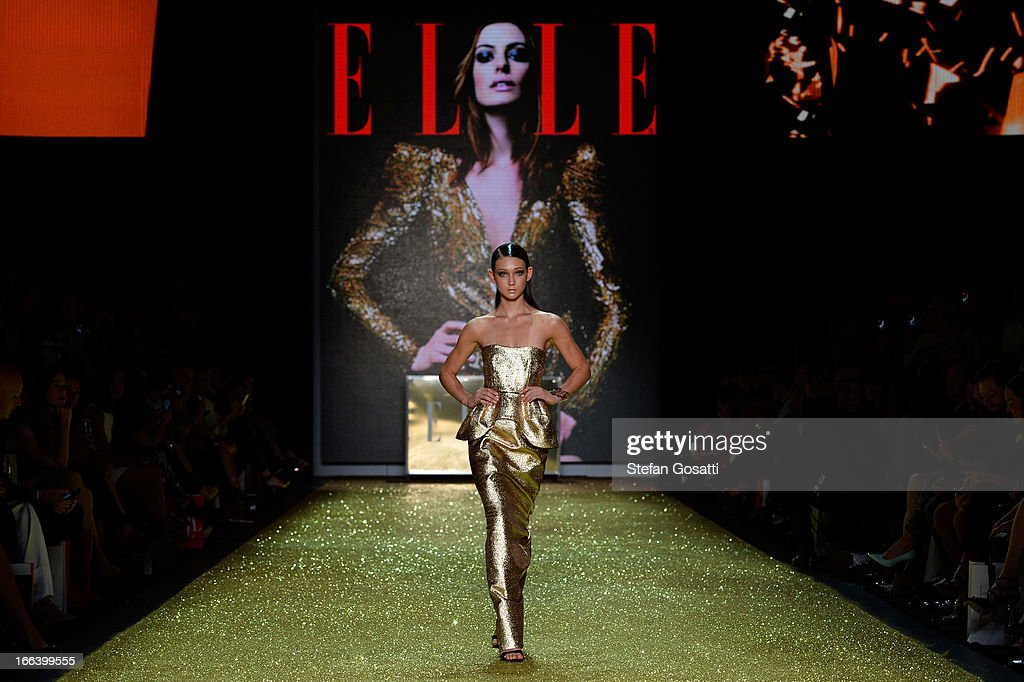 A model showcases designs by Ellery on the runway at the Hello Elle Australia show during Mercedes-Benz Fashion Week Australia Spring/Summer 2013/14 at Carriageworks on April 12, 2013 in Sydney, Australia.