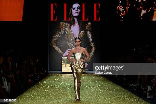 A model showcases designs by Ellery on the runway at the Hello Elle Australia show during MercedesBenz Fashion Week Australia Spring/Summer 2013/14...