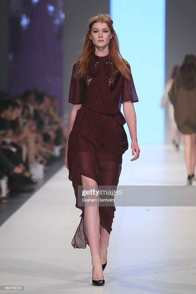A model showcases designs by Ellery on the runway at the L'Oreal Paris Runway 5 show during day five of L'Oreal Melbourne Fashion Festival on March...