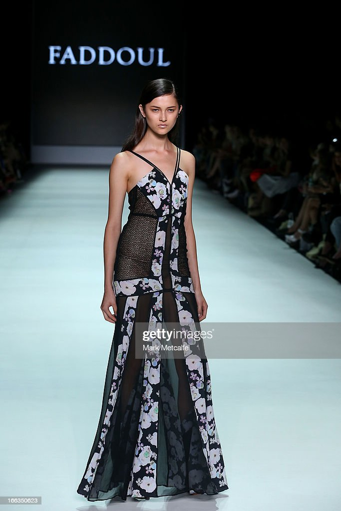 A model showcases designs by Faddoul on the runway at the New Generation show during Mercedes-Benz Fashion Week Australia Spring/Summer 2013/14 at Carriageworks on April 12, 2013 in Sydney, Australia.