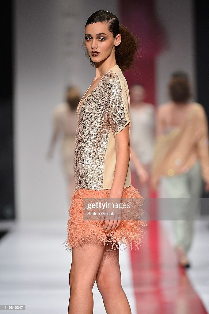 A model showcases designs by Flannel on the catwalk during StyleAID 2012 at the Burswood Entertainment Complex on July 27, 2012 in Perth, Australia.