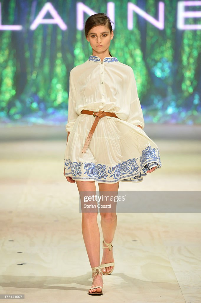 A model showcases designs by Flannel on the runway at the MBFWA Trends show during Mercedes-Benz Fashion Festival Sydney 2013 at Sydney Town Hall on August 21, 2013 in Sydney, Australia.