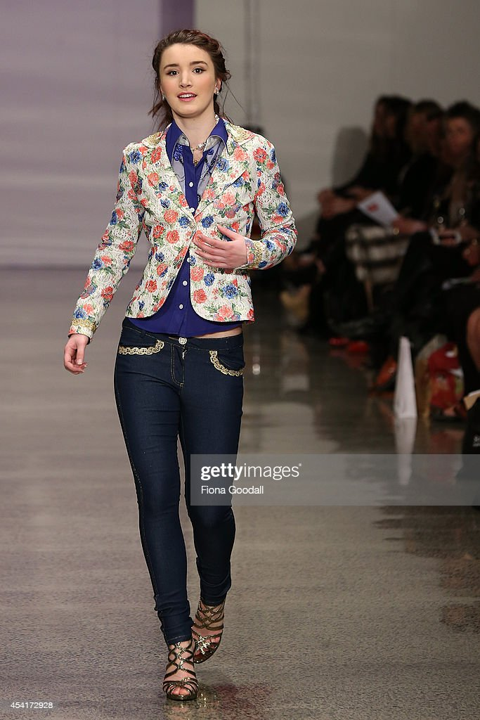 A model showcases designs by Frances Jerard at New Zealand Fashion Week 2014 on August 26 2014 in Auckland New Zealand