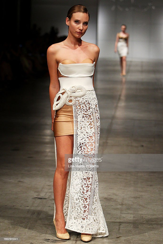 A model showcases designs by Galanni on the runway during Fashion Palette 2013 on March 7, 2013 in Sydney, Australia.