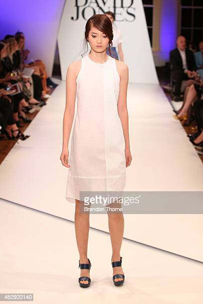 A model showcases designs by Gary Bigeni at the David Jones Spring/Summer 2014 Collection Launch at David Jones Elizabeth Street Store on July 30...