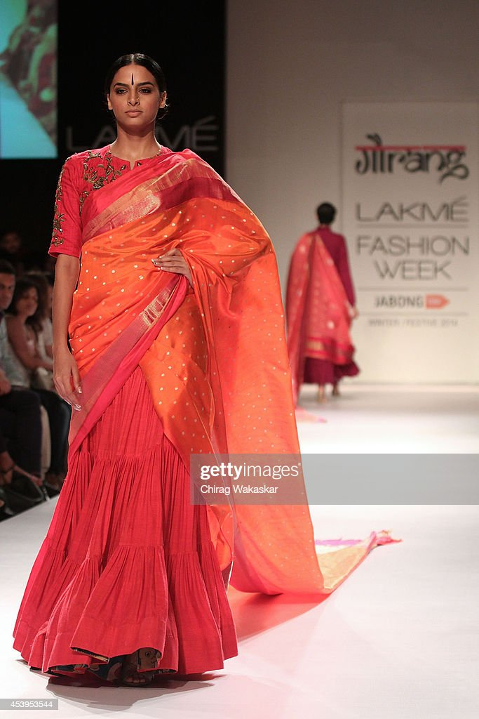 A model showcases designs by Gaurang during day 3 of Lakme Fashion Week Winter/Festive 2014 at The Palladium Hotel on August 22, 2014 in Mumbai, India.