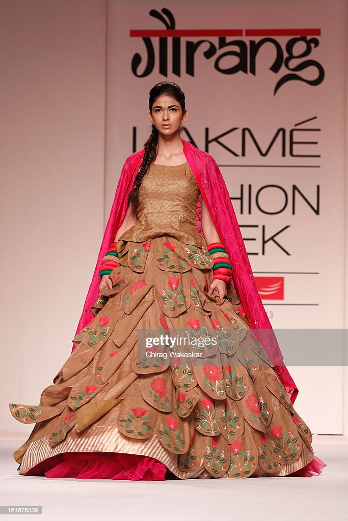 A model showcases designs by Gaurang on the runway during day four of Lakme Fashion Week Summer/Resort 2013 on March 25, 2013 at Grand Hyatt in Mumbai, India.