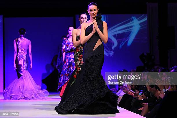 A model showcases designs by Gaurav Gupta during the Indian Film Festival of Melbourne Awards Night at National Gallery of Victoria on August 15 2015...