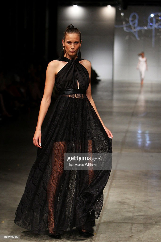 A model showcases designs by Gemeli Power on the runway during Fashion Palette 2013 on March 7, 2013 in Sydney, Australia.