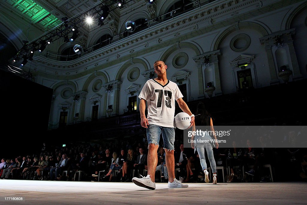 A model showcases designs by General Pants Co. on the runway at the General Pants show during Mercedes-Benz Fashion Festival Sydney 2013 at Sydney Town Hall on August 21, 2013 in Sydney, Australia.