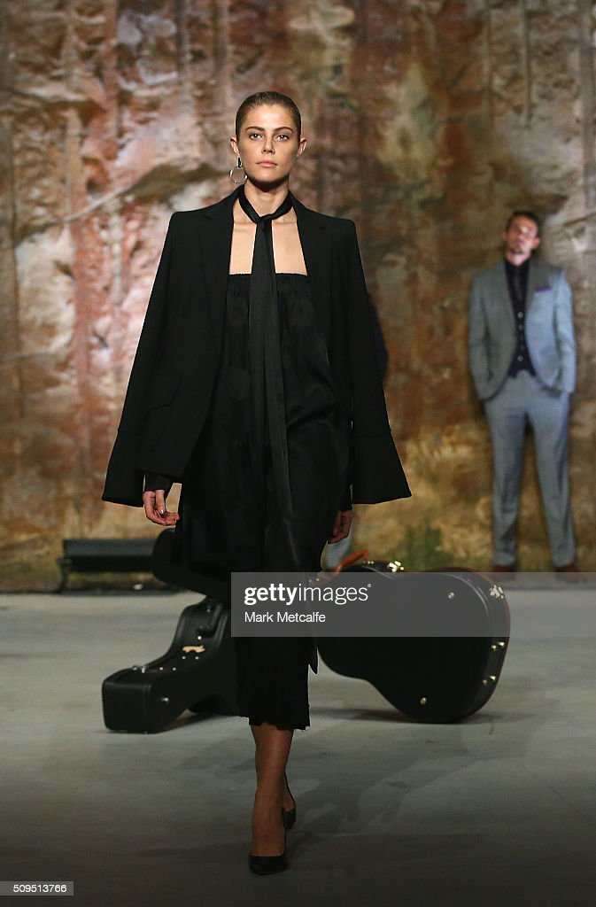 A model showcases designs by Georgia Alice on the runway at the Myer AW16 Fashion Launch on February 11, 2016 in Sydney, Australia.