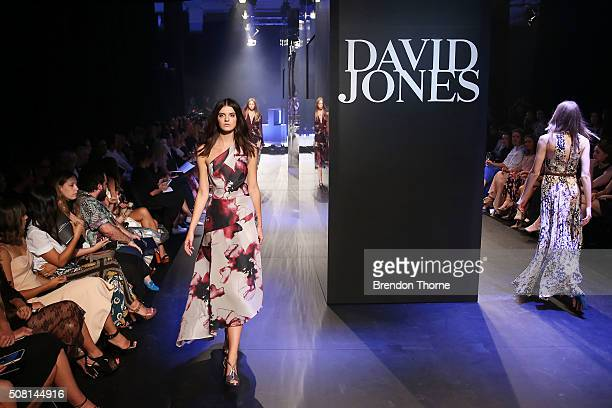 A model showcases designs by Ginger Smart on the runway at the David Jones Autumn/Winter 2016 Fashion Launch at David Jones Elizabeth Street Store on...