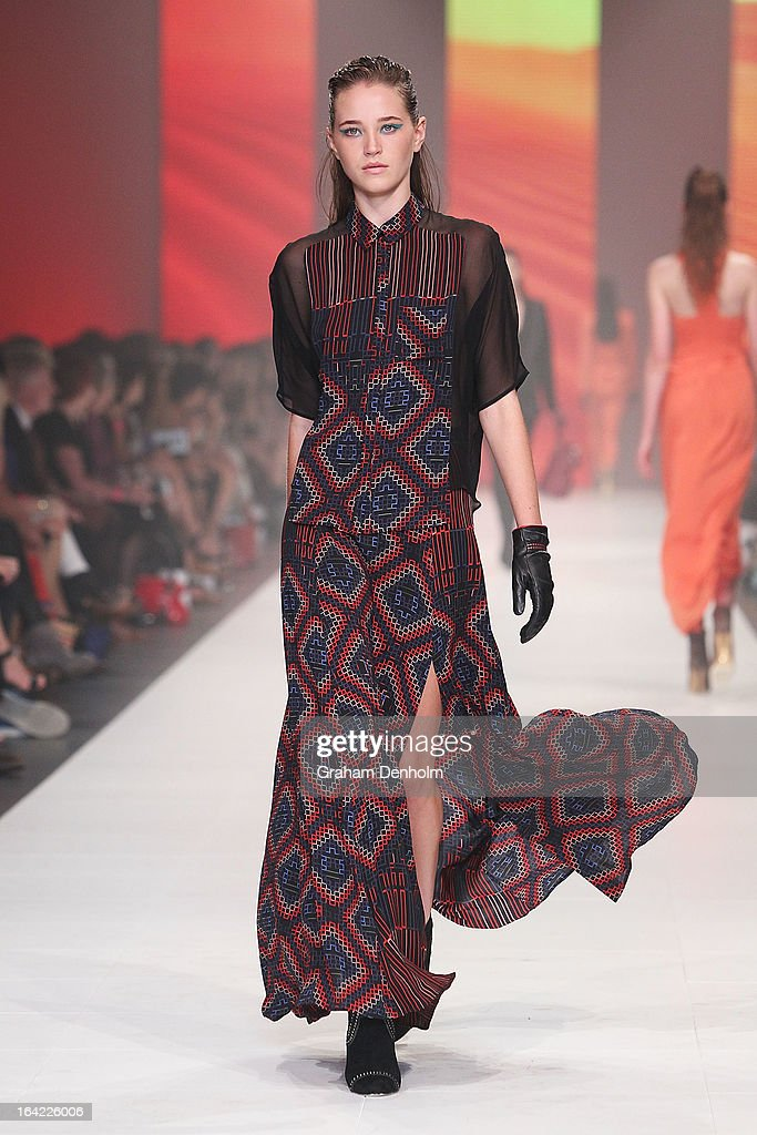 A model showcases designs by Ginger & Smart on the runway at the L'Oreal Paris Runway 3 show during day four of L'Oreal Melbourne Fashion Festival on March 21, 2013 in Melbourne, Australia.