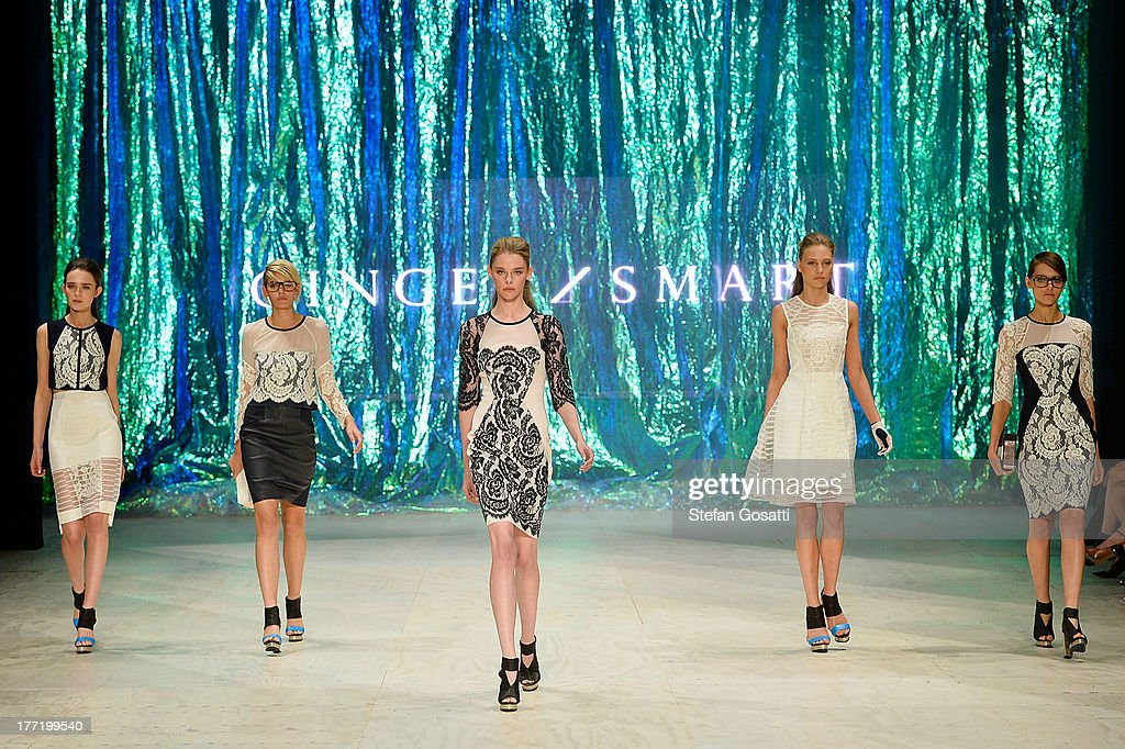 A model showcases designs by Ginger & Smart on the runway at the MBFWA Trends show during Mercedes-Benz Fashion Festival Sydney 2013 at Sydney Town Hall on August 22, 2013 in Sydney, Australia.
