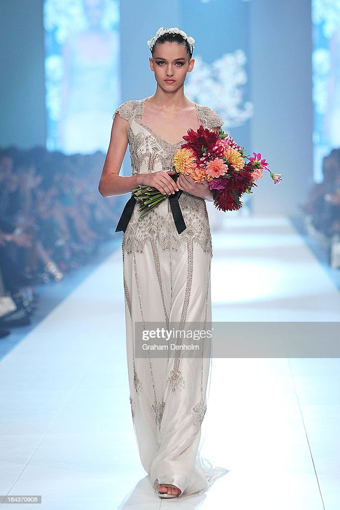 A model showcases designs by Gwendolynne on the runway at the Red Carpet Runway show during day six of L'Oreal Melbourne Fashion Festival on March 23, 2013 in Melbourne, Australia.