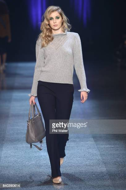 A model showcases designs by Hailwood on the runway at New Zealand Fashion Week 2017 on August 29 2017 in Auckland New Zealand