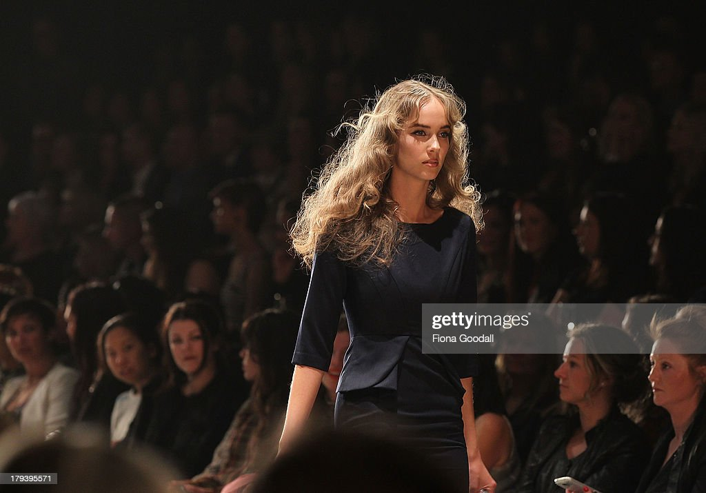 A model showcases designs by Hailwood on the runway during New Zealand Fashion Week at the Viaduct Events Centre on September 3, 2013 in Auckland, New Zealand.
