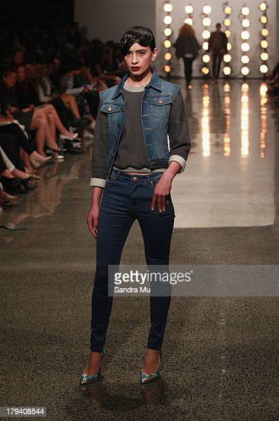 A model showcases designs by Hailwood on the runway during New Zealand Fashion Week at the Viaduct Events Centre on September 3 2013 in Auckland New...