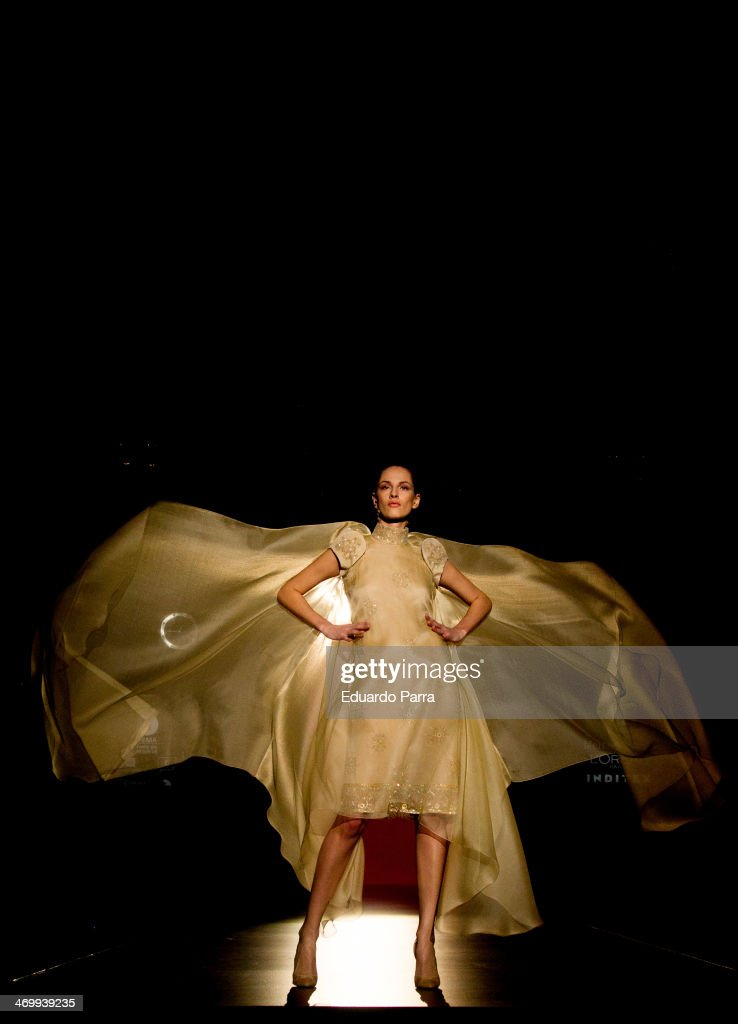 A model showcases designs by Hannibal Laguna on the runway at Hannibal Laguna show during Mercedes Benz Fashion Week Madrid Fall/Winter 2014 at Ifema on February 17, 2014 in Madrid, Spain.