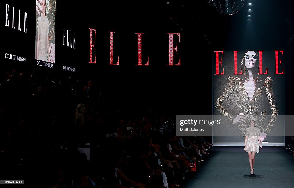 A model showcases designs by Haryono Setiadi on the runway at the Hello Elle Australia show during Mercedes-Benz Fashion Week Australia Spring/Summer 2013/14 at Carriageworks on April 12, 2013 in Sydney, Australia.