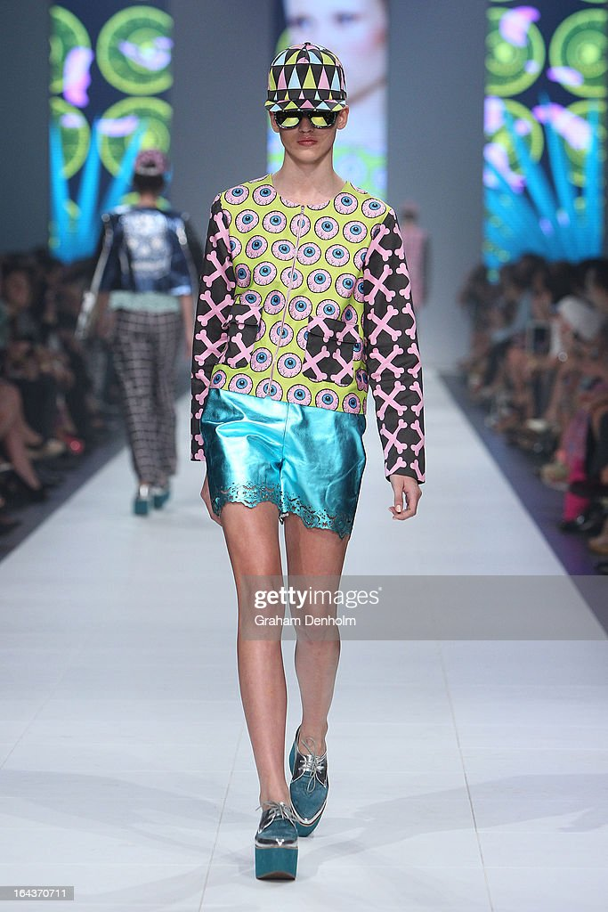 A model showcases designs by Hayley Elsaesser on the runway at the Sportsgirl National Graduate Showcase during day six of L'Oreal Melbourne Fashion Festival on March 23, 2013 in Melbourne, Australia.