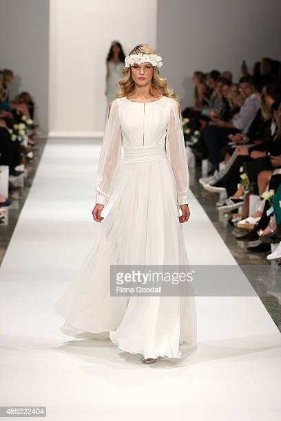A model showcases designs by Hera Couture by Katie Yeung during the New Zealand Weddings Magazine Collection show at New Zealand Fashion Week 2015 on...