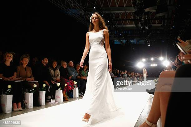 A model showcases designs by Hera Couture during the New Zealand Weddings Magazine Collection show at New Zealand Fashion Week 2015 on August 26 2015...