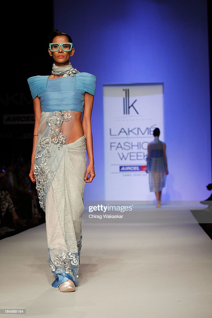 A model showcases designs by ILK on the runway during day three of Lakme Fashion Week Summer/Resort 2013 on March 24, 2013 at Grand Hyatt in Mumbai, India.
