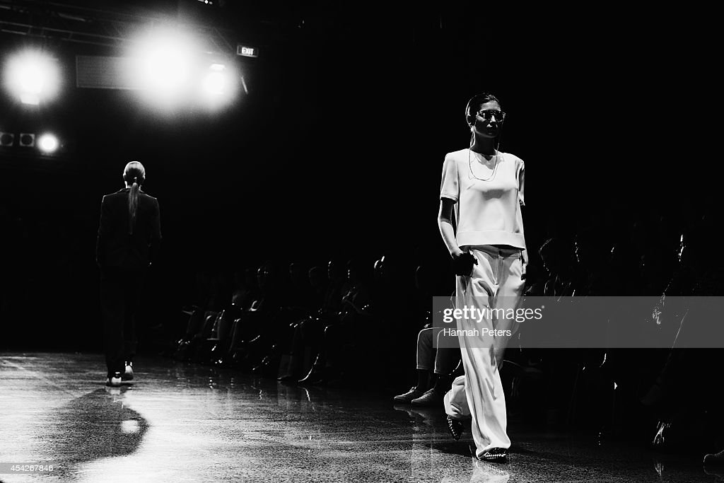 A model showcases designs by ITZME at New Zealand Fashion Week 2014 on August 28, 2014 in Auckland, New Zealand.