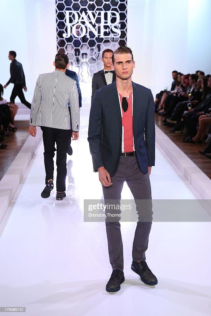A model showcases designs by Jack London at the David Jones Spring/Summer 2013 Collection Launch at David Jones Elizabeth Street on July 31, 2013 in Sydney, Australia.