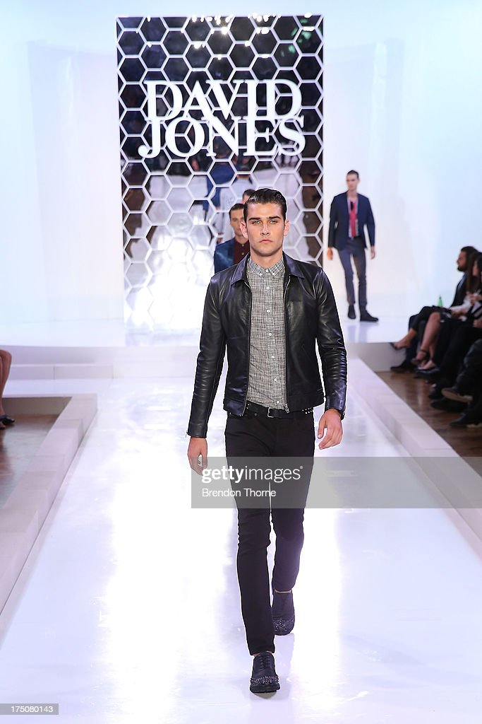 A model showcases designs by Jack London at the David Jones Spring/Summer 2013 Collection Launch at David Jones Elizabeth Street on July 31, 2013 in Sydney, Australia.