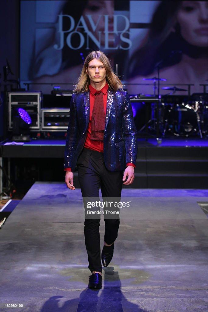 A model showcases designs by Jack London during rehearsal ahead of the David Jones Spring/Summer 2015 Fashion Launch at David Jones Elizabeth Street...