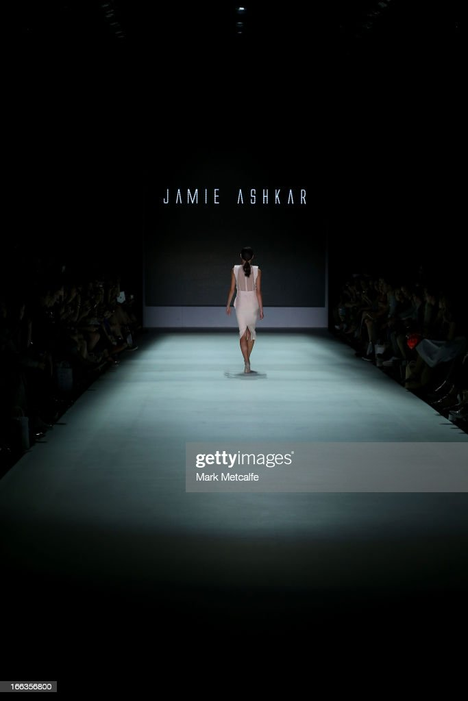 A model showcases designs by Jamie Ashkar on the runway at the New Generation show during Mercedes-Benz Fashion Week Australia Spring/Summer 2013/14 at Carriageworks on April 12, 2013 in Sydney, Australia.
