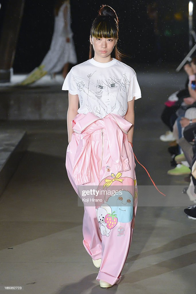 A model showcases designs by Jenny Fax as part of Shibuya Fashion Festival at Miyashita Park on October 19, 2013 in Tokyo, Japan.