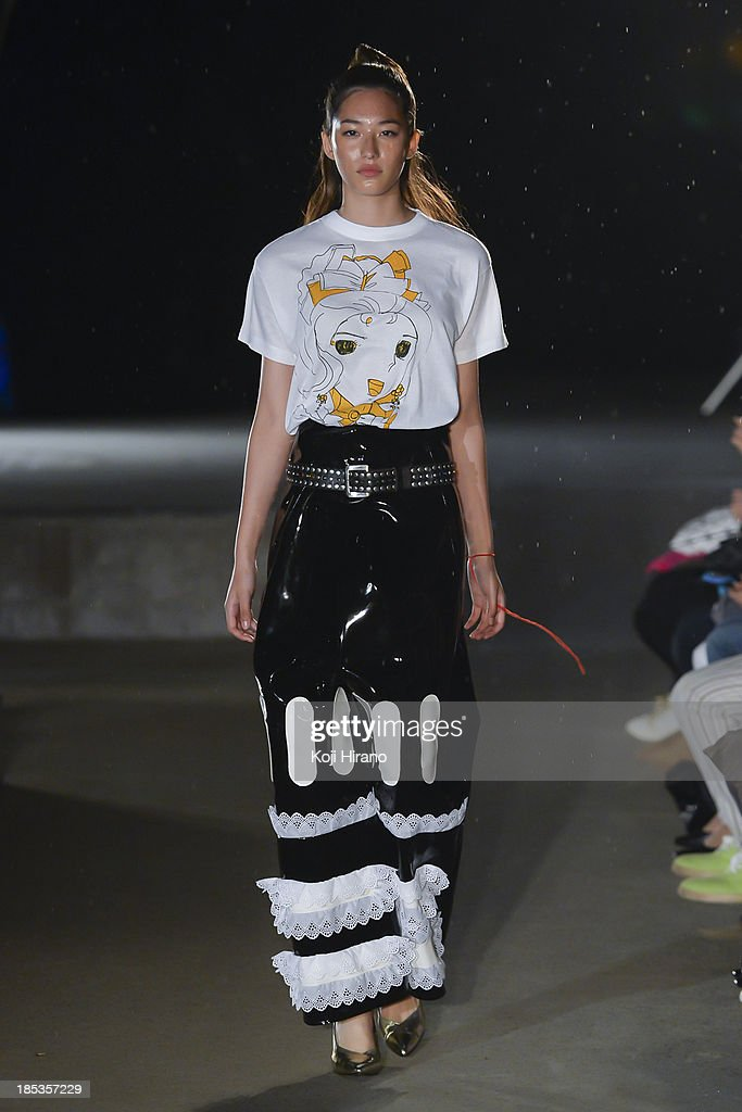 A model showcases designs by Jenny Fax as part of Shibuya Fashion Festival at Miyashita Park on October 19, 2013 in Tokyo, Japan.