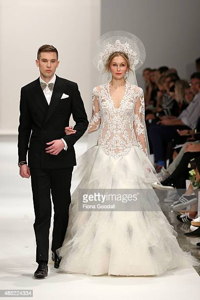 A model showcases designs by John Zimmerman Couture and Crane Brothers during the New Zealand Weddings Magazine Collection show at New Zealand...