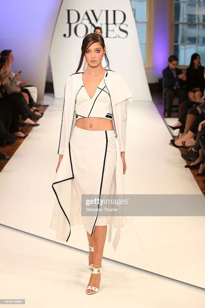 A model showcases designs by Josh Goot during a rehearsal ahead of the David Jones Spring/Summer 2014 Collection Launch at David Jones Elizabeth...