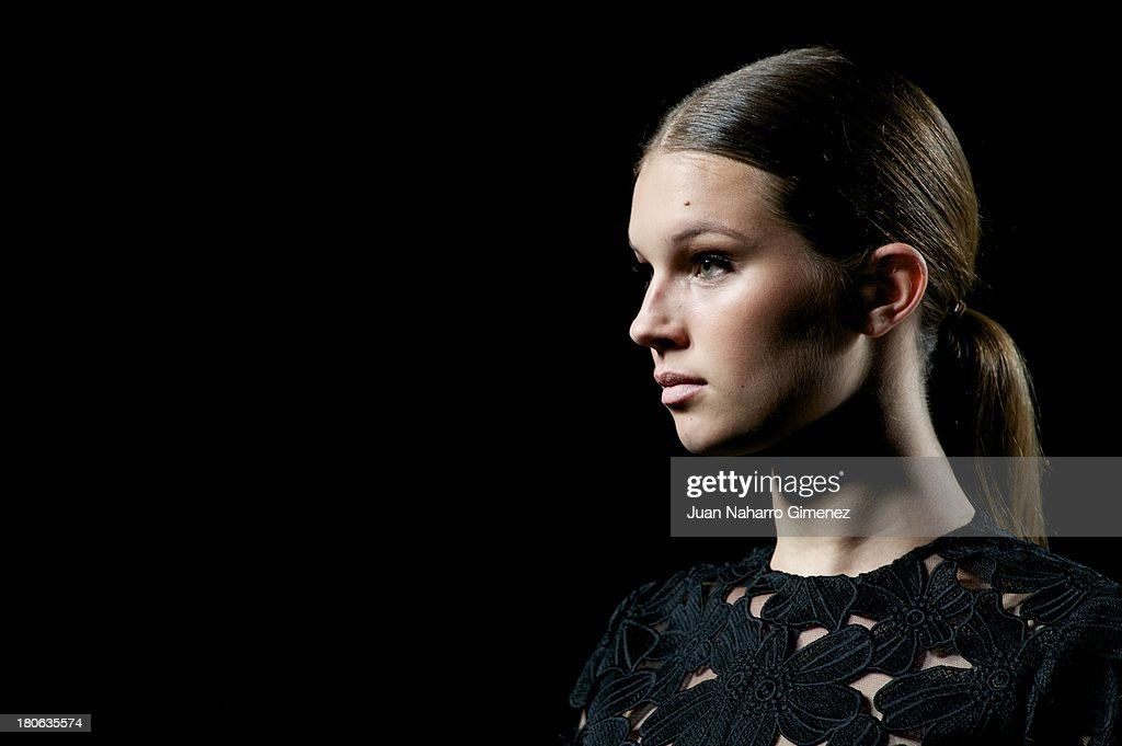 A model showcases designs by Juana Martin on the runway at Juana Martin show during Mercedes Benz Fashion Week Madrid Spring/Summer 2014 on September 15, 2013 in Madrid, Spain.