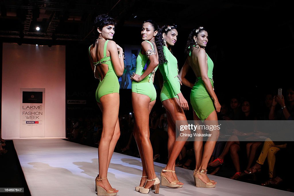A model showcases designs by Kaabia & Sasha on the runway during day five of Lakme Fashion Week Summer/Resort 2013 on March 26, 2013 at Grand Hyatt in Mumbai, India.