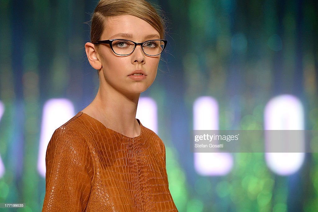 A model showcases designs by Kahlo on the runway at the MBFWA Trends show during Mercedes-Benz Fashion Festival Sydney 2013 at Sydney Town Hall on August 22, 2013 in Sydney, Australia.
