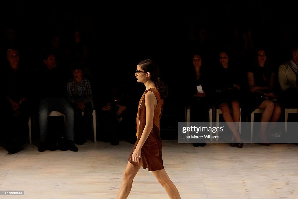 A model showcases designs by Kahlo on the runway at the MBFWA Trends show during Mercedes-Benz Fashion Festival Sydney 2013 at Sydney Town Hall on August 24, 2013 in Sydney, Australia.