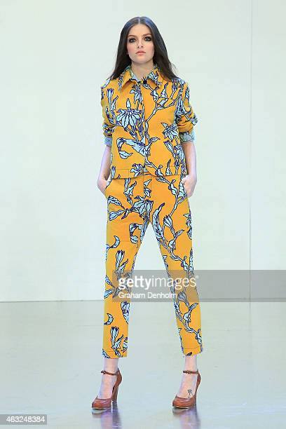 A model showcases designs by Karen Walker during the Myer A/W 2015 Season Launch at Myer Mural Hall on February 12 2015 in Melbourne Australia