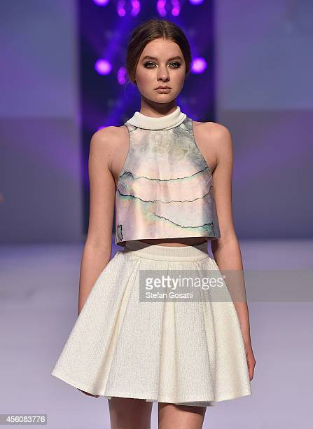 A model showcases designs by Karla Spetic on the runway during MB Presents Australian Style show during MercedesBenz Fashion Festival Sydney at...