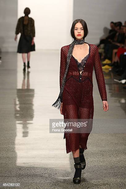 A model showcases designs by Kate Sylvester at New Zealand Fashion Week 2014 on August 28 2014 in Auckland New Zealand