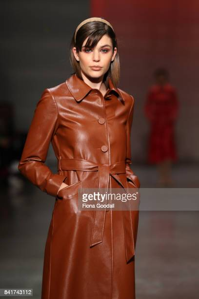 A model showcases designs by Kate Sylvester in the FQ Miss FQ on the runway at New Zealand Fashion Week 2017 on September 2 2017 in Auckland New...