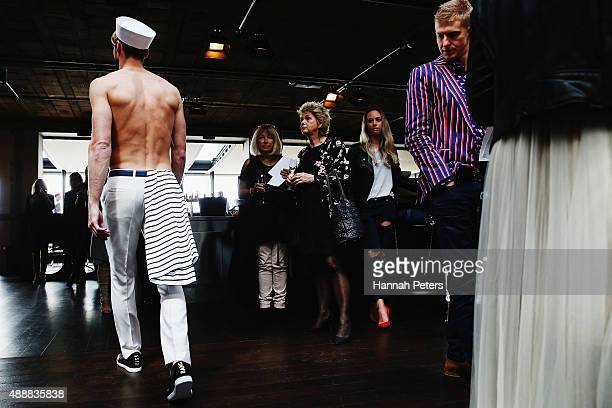A model showcases designs by Kathryn Wilson at Ostro City Terrace during the Britomart 'A Taste of Fashion' Progressive Lunch at the Britomart...