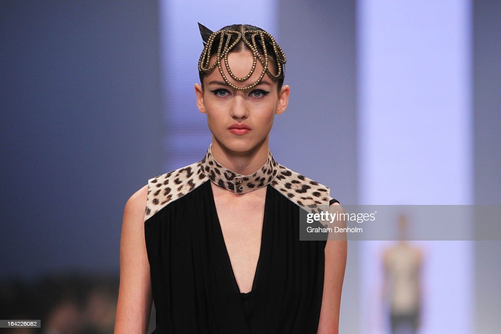 A model showcases designs by Kirrily Johnston on the runway at the L'Oreal Paris Runway 4 show during day four of L'Oreal Melbourne Fashion Festival on March 21, 2013 in Melbourne, Australia.